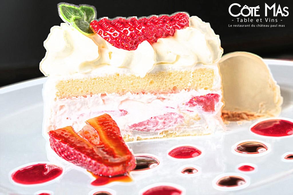 gateau à la fraise restaurant Côté Mas