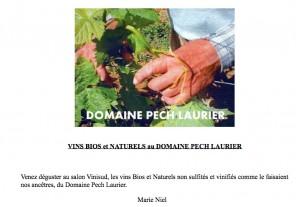 communique presse domaine pech laurier vin nature